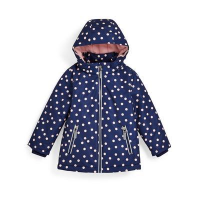 Younger Girl Navy Polka Dot Print Taslon Jacket