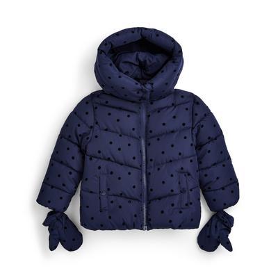 Manteau bleu marine mi-lourd floqué fille