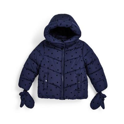 Manteau bleu marine mi-lourd à pois floqués fille