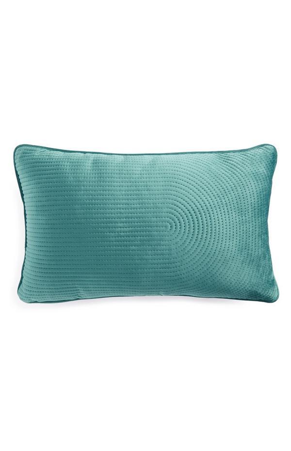 Längliches blaugrünes Samtkissen mit Ziernaht