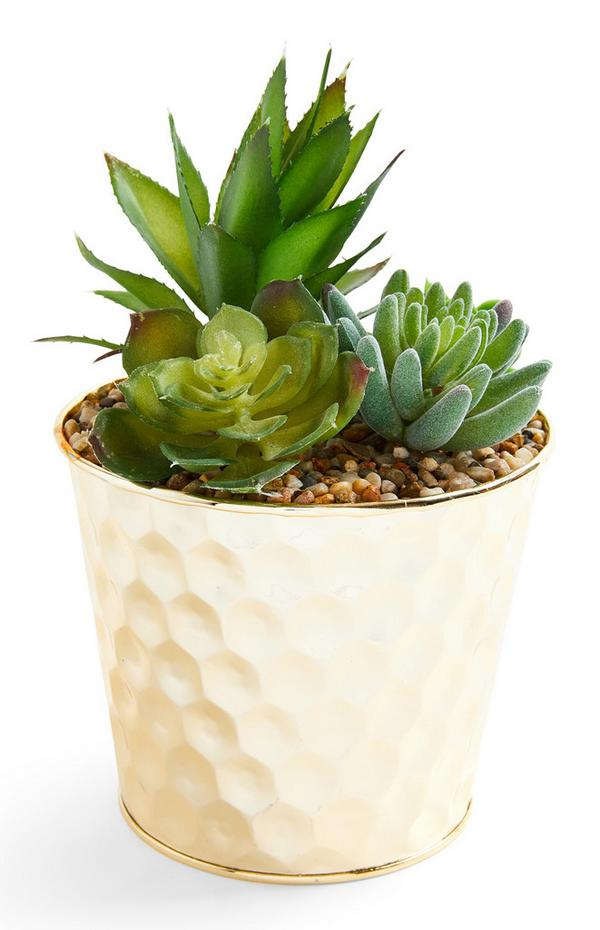 Goudkleurige plantenpot met deukjes en mix van imitatievetplantjes
