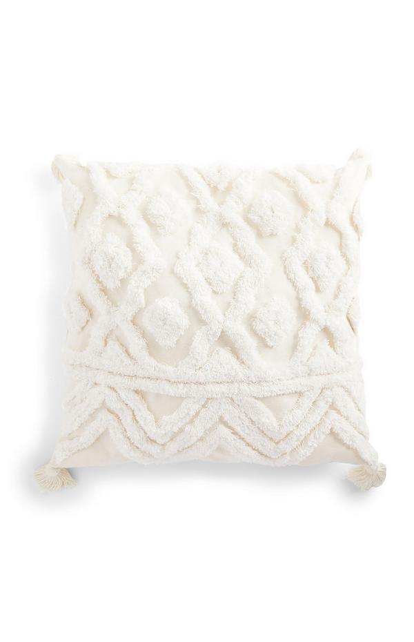 Weißes getuftetes Kissen mit Quasten, 50 cm x 50 cm