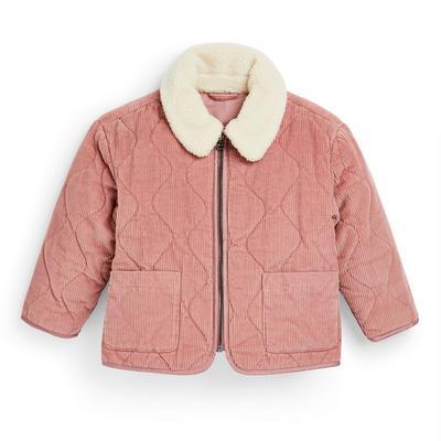 Veste rose en velours côtelé avec col effet mouton retourné fille