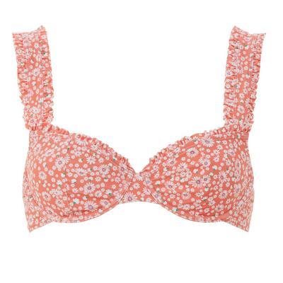 Top de bikini con aros rojo con volante y estampado floral