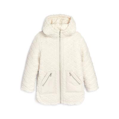Older Girl Ivory Borg Longline Jacket