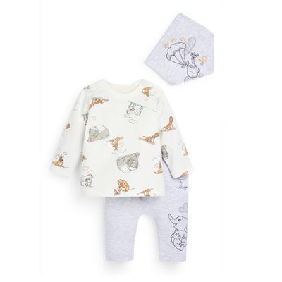Siv 3-delni komplet za prosti čas za novorojenčke Dumbo
