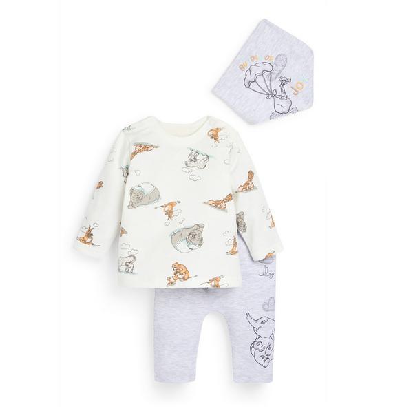 Comfortabel driedelig grijs babysetje voor pasgeborenen