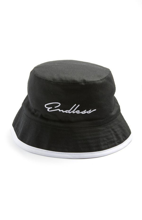 Black Endless Script Bucket Hat