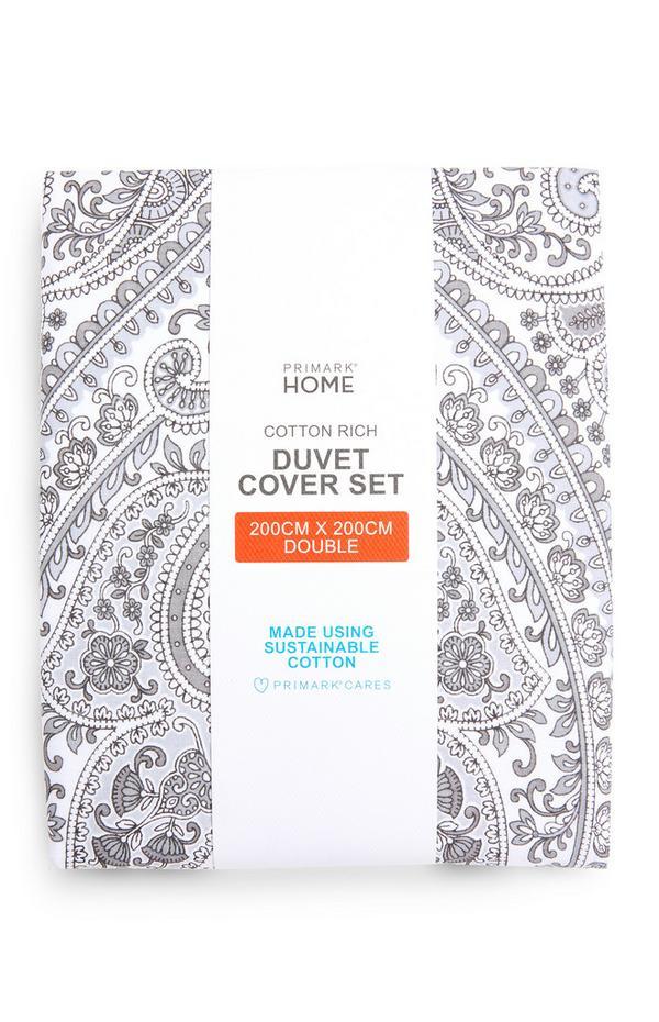 Grey Paisley Print Double Duvet Cover