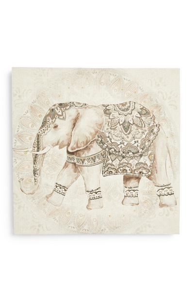 Crèmekleurige muurdecoratie op canvas met olifantenprint