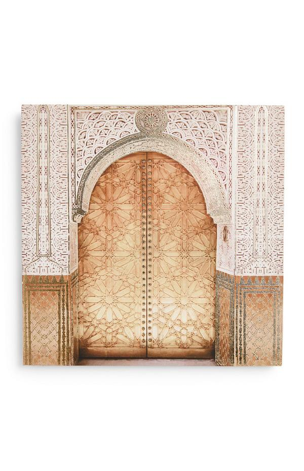 Muurdecoratie op canvas met deurprint
