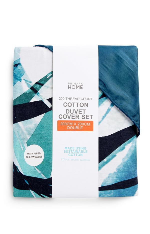 Blue Palm Leaf Print Double Duvet Cover Set