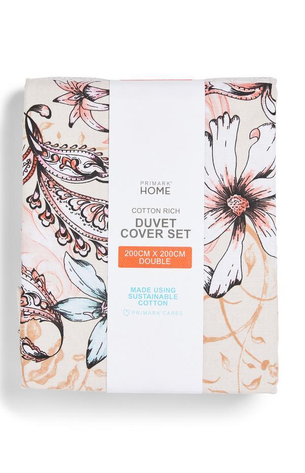 Naturfarbene Bettwäsche mit Blumenmuster, Doppelbett