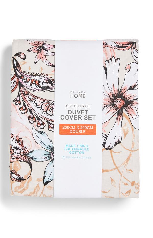 Neutral Floral Print Double Duvet Cover Set
