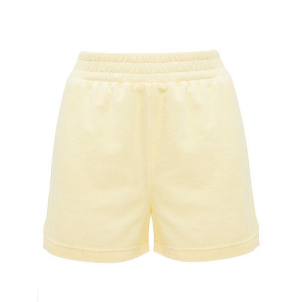 Pantalón corto amarillo de felpa con cintura elástica