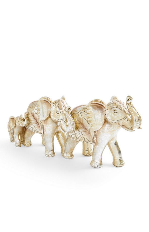 Trio di soprammobili color oro a forma di elefante grande