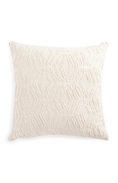 Ivory Clipped Cotton Cushion 50cm X 50cm
