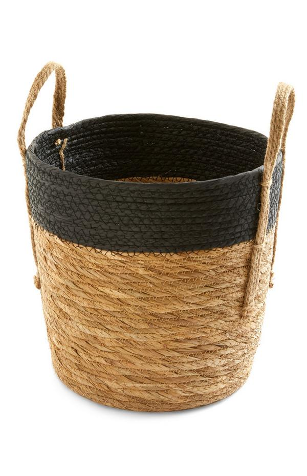 Black Striped Two Tone Wicker Handle Basket