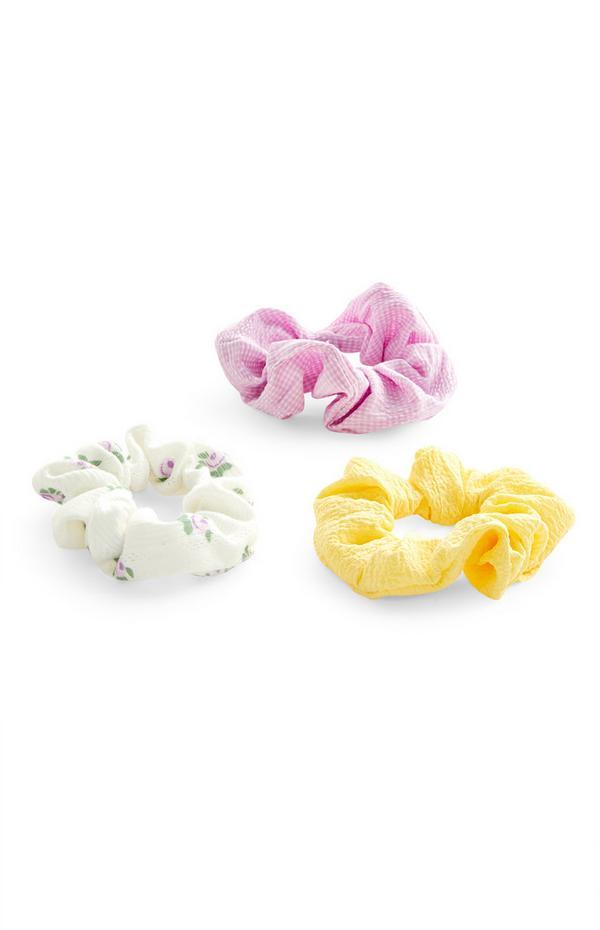Haarscrunchies van roze en gele stof, set van 3