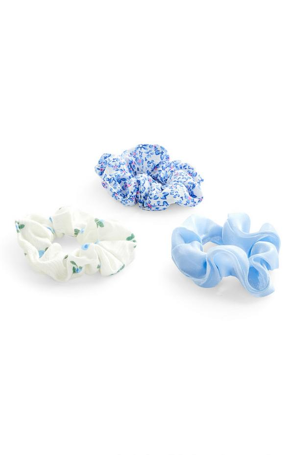 Blue Mixed Print Fabric Hair Scrunchies 3 Pack