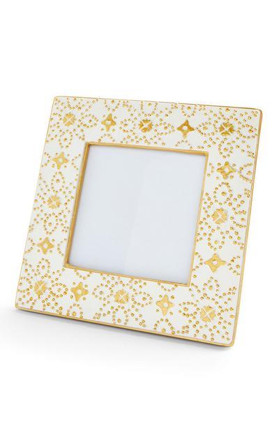 Weißer Bilderrahmen mit marokkanischem Muster, 10 x 10 cm