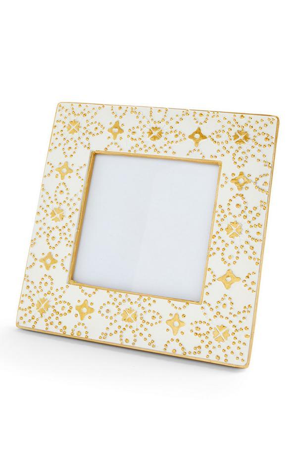 Wit fotolijstje met Marokkaanse print, 10 x 10 cm
