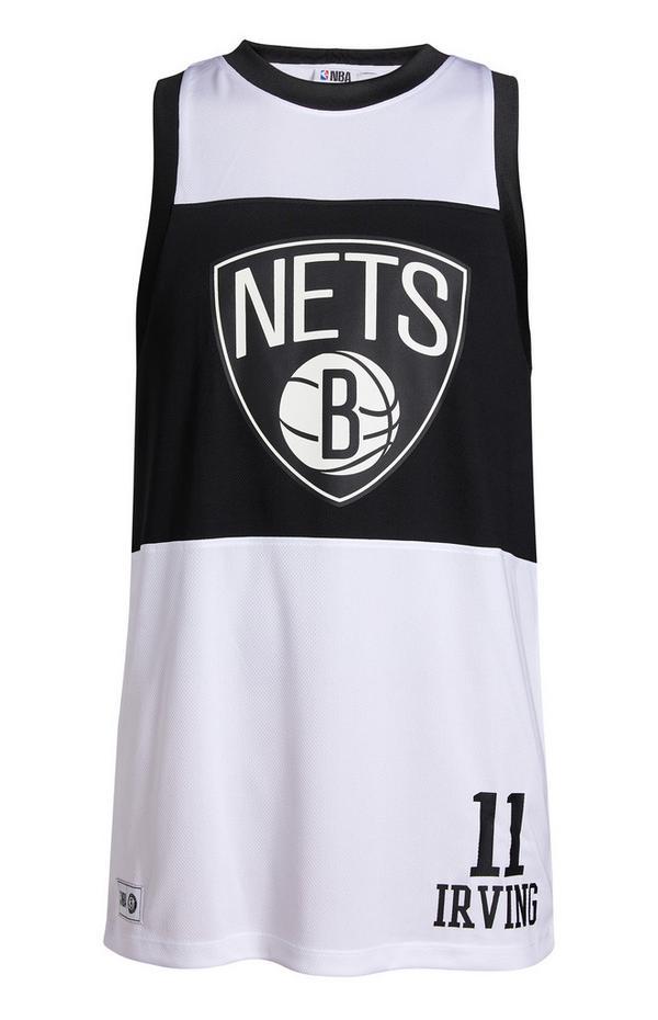 Camiseta sin mangas blanca y negra de los Nets de la NBA