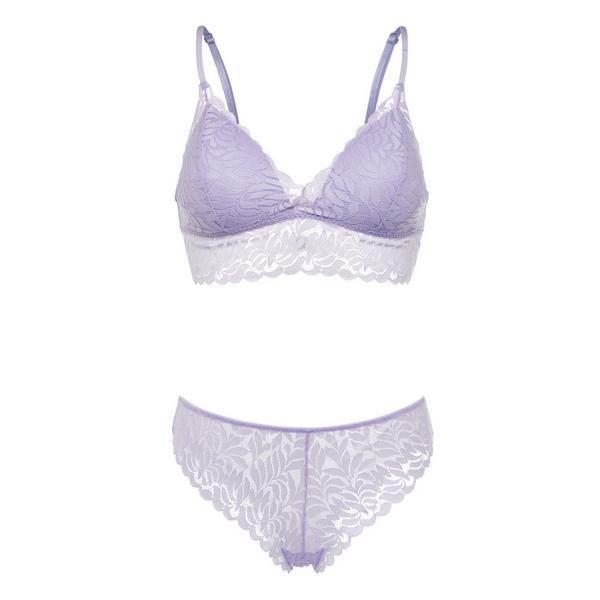 Conjunto lingerie bralette renda folhas lilás