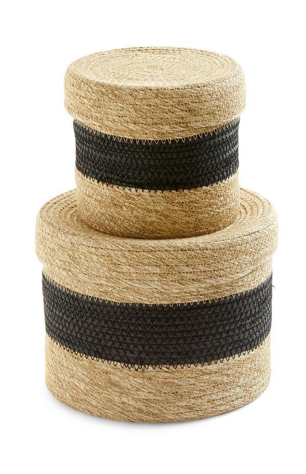 Black Striped Two Tone Wicker Baskets 2 Pack
