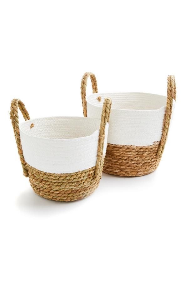 Straw Two Tone Baskets With Handles 2 Pack