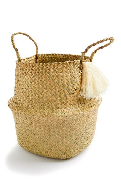 Large Woven Straw Collapsible Basket