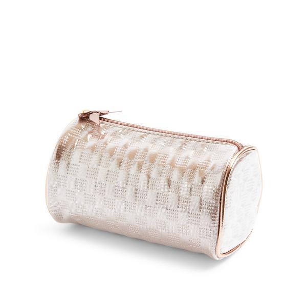 Roségoldene Make-up-Tasche in Metallic-Optik
