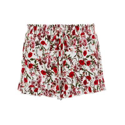 Red Floral Print Shorts