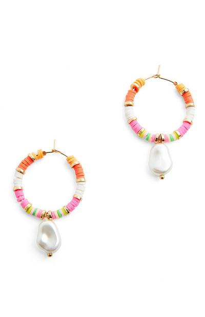 Multi Pearl Drop Hoop Earrings