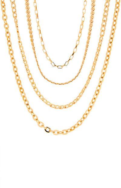 Collier chaîne doré à 4 rangs avec maillons délicats