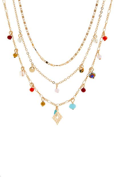 Goldtone Delicate Multi Row Drop Bead Necklace