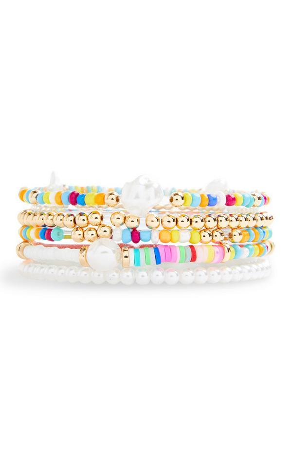 Freundschaftsarmbänder mit bunten Zierperlen und Perlen, 5er-Pack