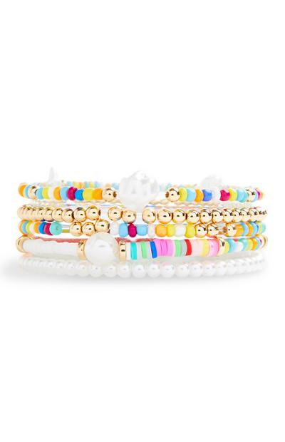 Multitcoloured Beaded Pearl Friendship Bracelets 5 Pack