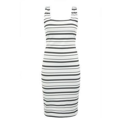 Black/White Striped Ponte Tank Midi Dress