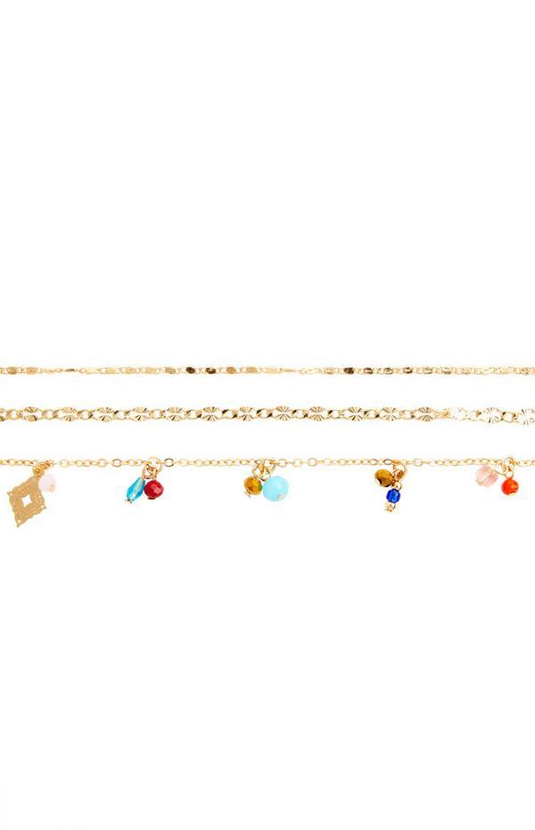 Goldfarbene, filigrane Fußkettchen mit Perlen, 3er-Pack