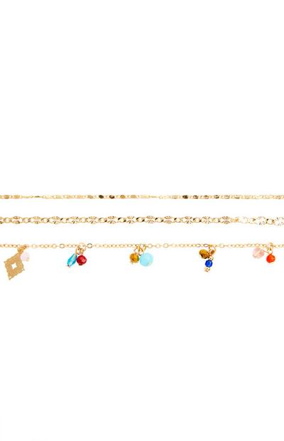 3-Pack Goldtone Delicate Beaded Anklets