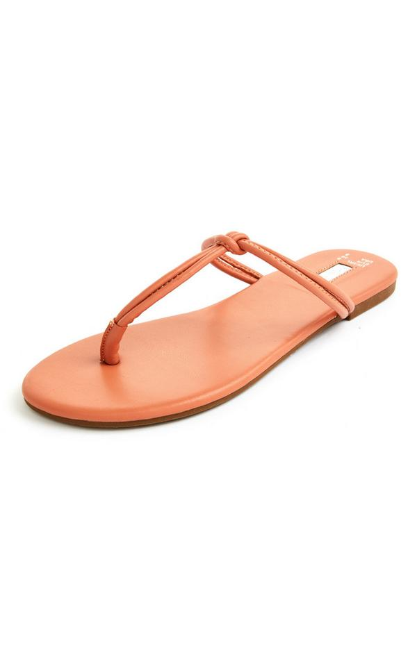Orange Knotted Thong Sandals
