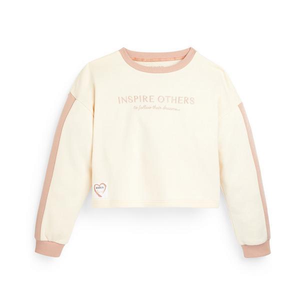 Older Girl Ecru Side Stripe Crew Neck Sweater