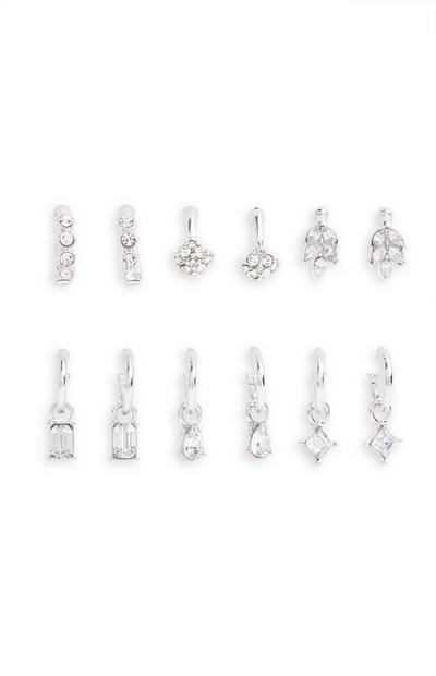 6-Pack Silvertone Rhinestone Huggie Earrings
