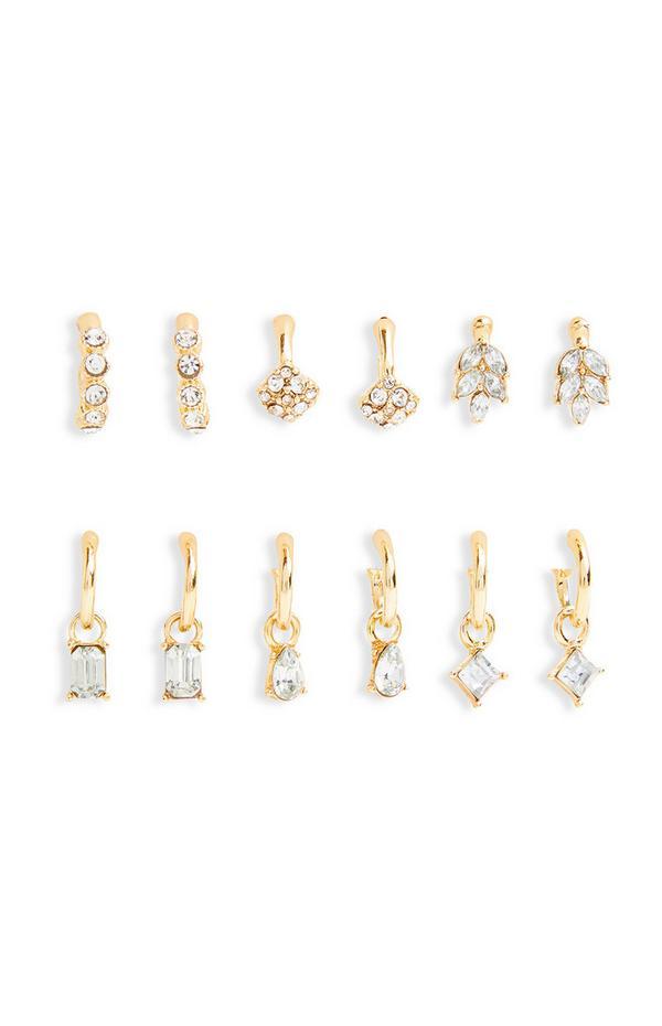 Goldtone Diamonte Huggie Earrings 6 Pack