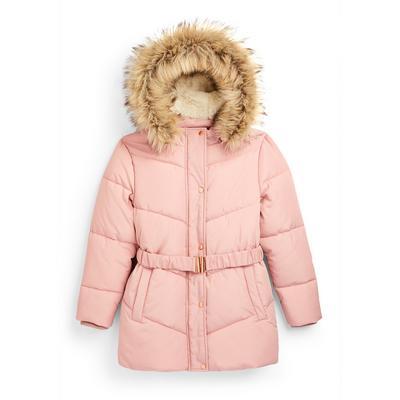 Roze gewatteerde jas met riem voor meisjes