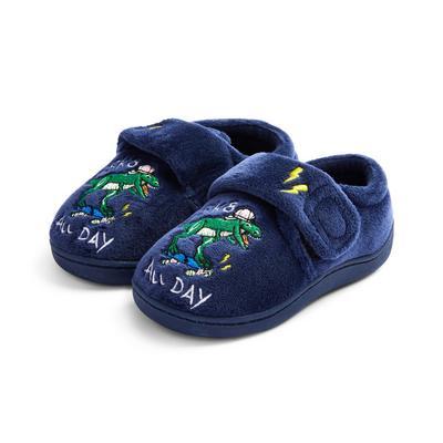 Chaussons bleu marine à semelle concave et dinosaure brodé garçon