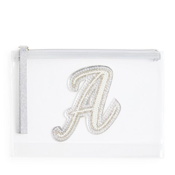Clear Glitter A Initial Faux Pearl Studded Pouch