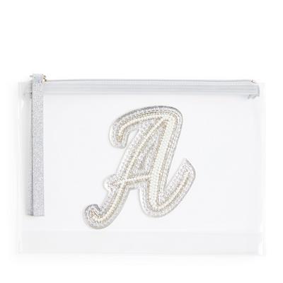 """Transparente Tasche mit Glitzer und Initiale """"A"""" aus Zierperlen"""