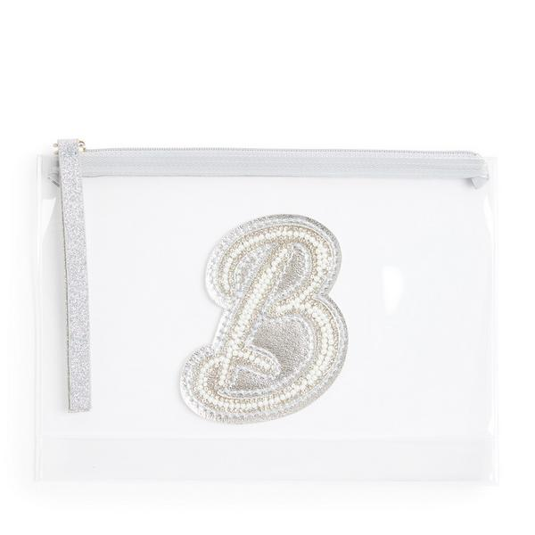 Clear Glitter B Initial Faux Pearl Studded Pouch